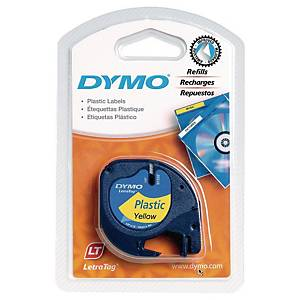 Dymo Letratag Plastic Labels, 12 mm X 4 M Roll, Black Print On Yellow, Plastic