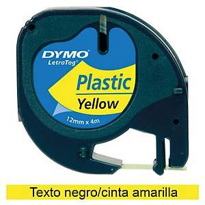 Cinta de rotular Dymo LetraTag - 12 mm - plástico - negro sobre amarillo