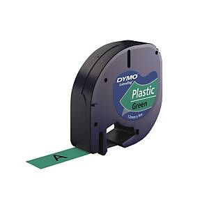 DYMO S0721640 LetraTag Plastic Tape 12mm x 4m Black on Green
