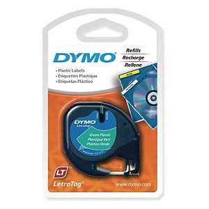 DYMO 91204 Letratag Plastic Tape 12mm x 4m Black on Green