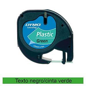 Cinta de rotular Dymo LetraTag - 12 mm - plástico - negro sobre verde