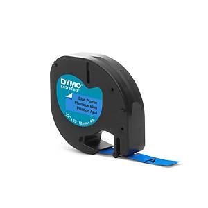 Ruban Dymo Letratag - plastique - 12 mm - noir sur bleu