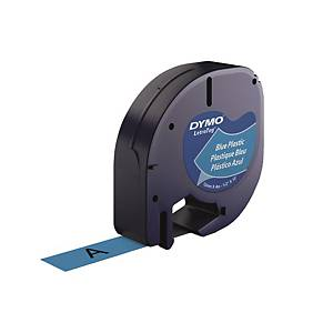 DYMO S0721650 LetraTag Plastic Tape 12mm x 4m Black on Blue