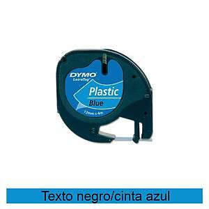 Cinta de rotular Dymo LetraTag - 12 mm - plástico - negro sobre azul