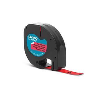 Ruban Dymo Letratag - plastique - 12 mm - noir sur rouge
