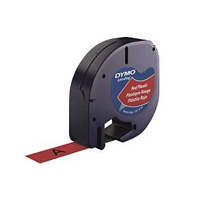 DYMO LetraTag (膠) 標籤帶 12毫米 x 4米 黑色字紅色底