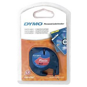 DYMO 91203 Letratag Plastic Tape 12mm x 4m Black on Red