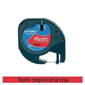 Cinta de rotular Dymo LetraTag - 12 mm - plástico - negro sobre rojo