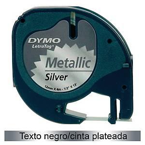 Cinta de rotular Dymo LetraTag - 12 mm - plástico - negro sobre plateado