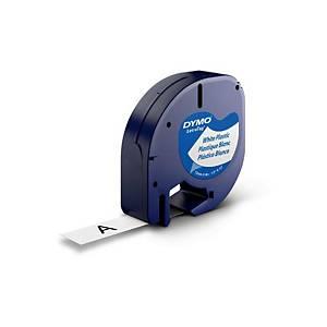 Ruban pour étiquettes Dymo Letratag 9120, plastique, 12 mm, noir sur transparent