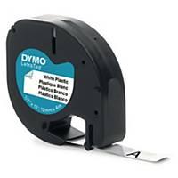 Teksttape Dymo LetraTag, plast, sort/hvid