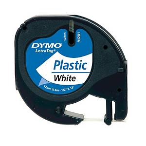 DYMO LETRATAG PLASTIC LABELLING TAPE 4M X 12MM - BLACK ON WHITE