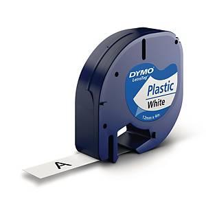 Schriftband Dymo LetraTag 91221, Plastik, 12mm x 4m, weiß