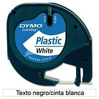 Fita rotulagem Dymo LetraTag - 12mm - plástico - preto em fundo branco