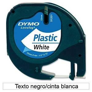 Cinta de rotular Dymo LetraTag - 12 mm - plástico - negro sobre blanco