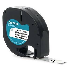 Märkband Dymo LetraTag, plast, vitt/svart