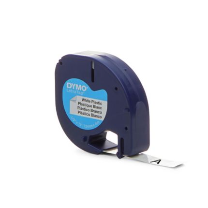 91201 Compatible Dymo LETRATAG black on white plastic label tape 12mmx4m tape
