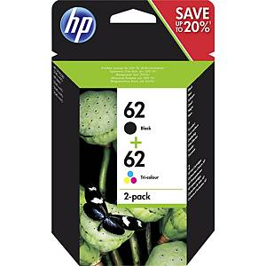 HP 62 2-pack Black/Tri-Colour Original Ink Cartridges (N9J71AE)