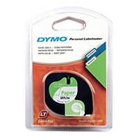 Dymo Letratag Paper Label Tape, 12 mm X 4 M Roll, White