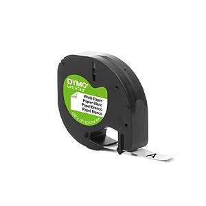 Ruban Dymo Letratag - papier - 12 mm - noir sur blanc