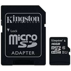 Kingston Canvas Select muistikortti microSDXC 16GB adapterilla