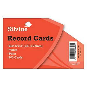 Silvine Record Card Plain 5X3  White - Pack of 100