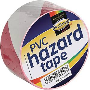 Roll Hazard Warning tape Red 50mm 33Mtr Adhesive White