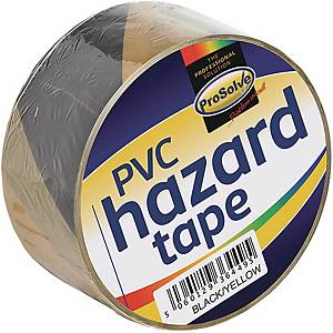 Roll Hazard Warning tape Yellowblack 50mm 33Mtr Adhesive