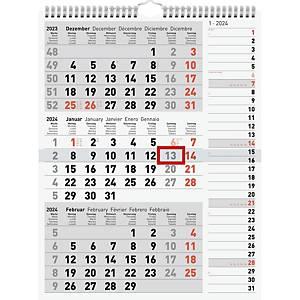 Kombiplaner Simplex 70-33330, 3 Monate pro Seite, grau/rot