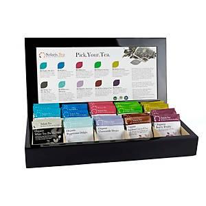 Coffret de présentation en bois, incl. 50 sachets de thé Solaris, noir