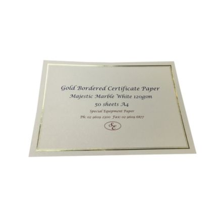 majestic marble white 120 gsm a4 certificates gold border pack of 50