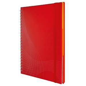 Notizio jegyzetfüzet kemény borítóval és fém spirállal, A4, négyzethálós, piros