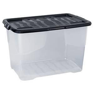 Strata Crystal opbergdoos in plastic met deksel, 65 liter, transparant, per box