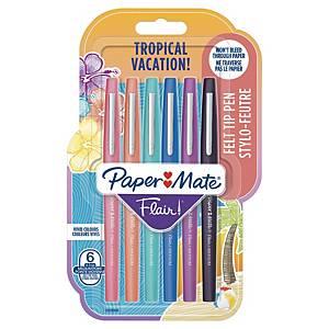 Paper Mate Flair Pen Medium Tropical Asst - Pack Of 6