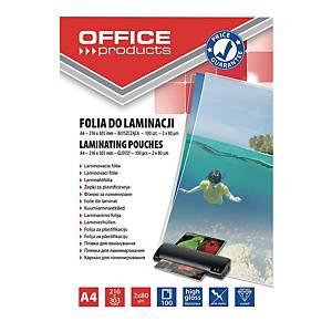 Folia do laminacji OFFICE PRODUCTS, A4, 2x80 mikronów, błyszcząca, 100 sztuk