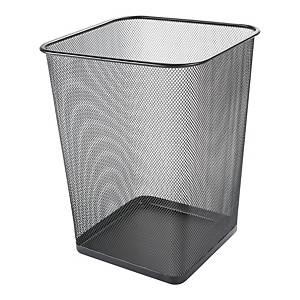 Kosz na śmieci, metalowa siatka, kwadratowy, czarny