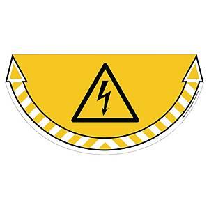 Autocollant sol risque haute tension CEP Take Care, jaune, la pièce