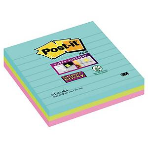 Post-it® Super Sticky Notes 675-SSMI, gelijnd Miami kleuren, 101 x 101 mm, per 3