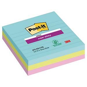 Notisblock Post-it Super Sticky Miami, linj., 101 x 101 mm, förp. med 3 block
