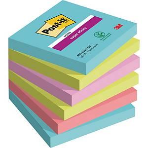 Notes Post-it® Super Sticky 654-SSMI, 76x76mm, couleurs Miami, paquet de 6