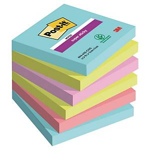 Post-it Super Sticky Notes 76x76mm gelijnd miami - pak van 6