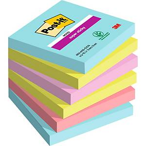 Pack de 6 blocks de 90 notas adhesivas Post-it Super Sticky - colores Miami