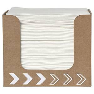 Serviette de table Dunisoft - 20 x 20 cm - blanche - boîte distributrice de 50