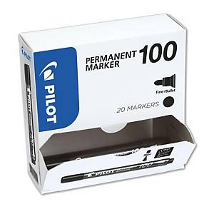 Permanent Marker Pilot 100, Strichbreite 1 mm, Rundspitze, schwarz, Pk. à 20 Stk