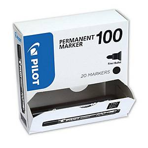 Pilot SCA 100 Black Permanent Marker Bullet Tip - Value Box of 20