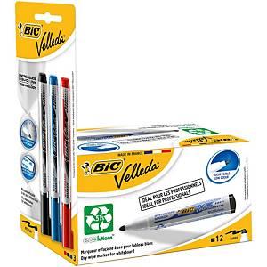 Bic Velleda 1701 Black Whiteboard Marker - Box of 12 + 3 Free Liquid Ink Markers