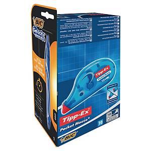 Bic Tipp-Ex korjausrolleri 10 kpl + Bic Cristal Up kuulakynä 4 kpl kaupan päälle