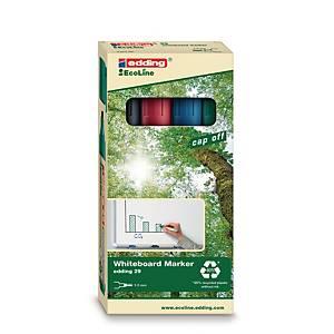 Whiteboardmarker Edding 29 Ecoline, skrå, etui a 4 farver