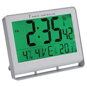 Horloge LCD numérique radio-pilotée Alba, avec calendrier, grise