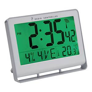 Klocka Alba LCD, digital, 15 x 20cm, silvergrå